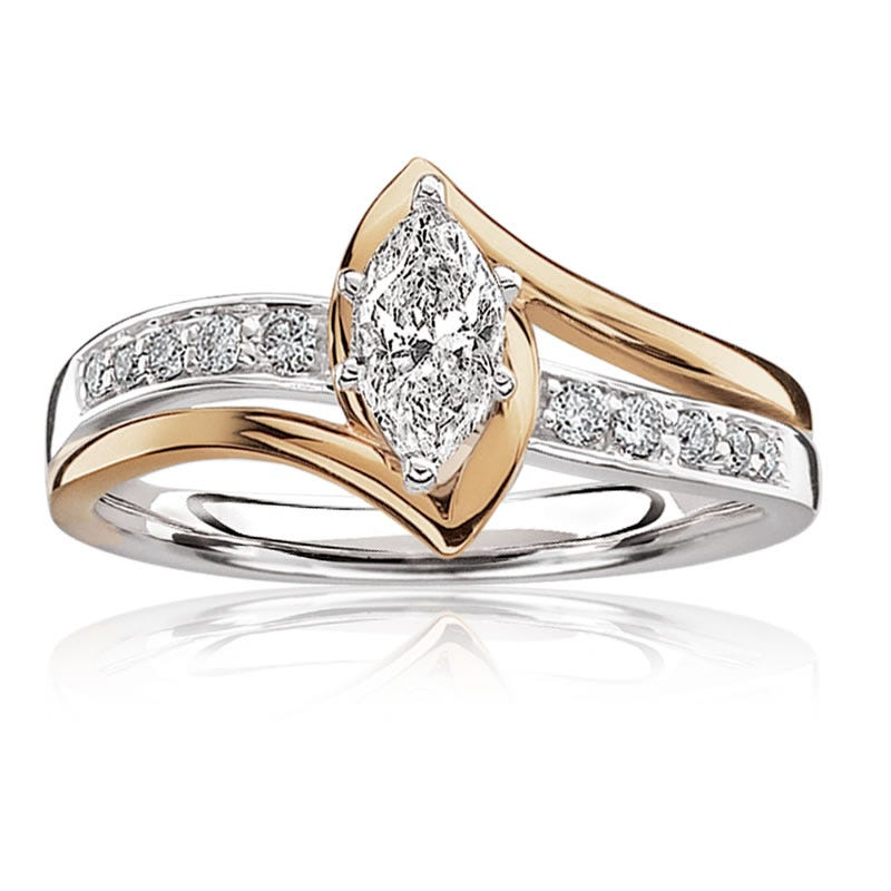 Georgia. Marquise-Cut 1/2ctw. Diamond Engagement Ring 14k Gold