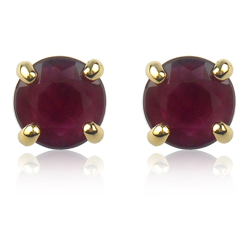Ruby Brilliant-Cut Stud Earrings in Yellow Gold