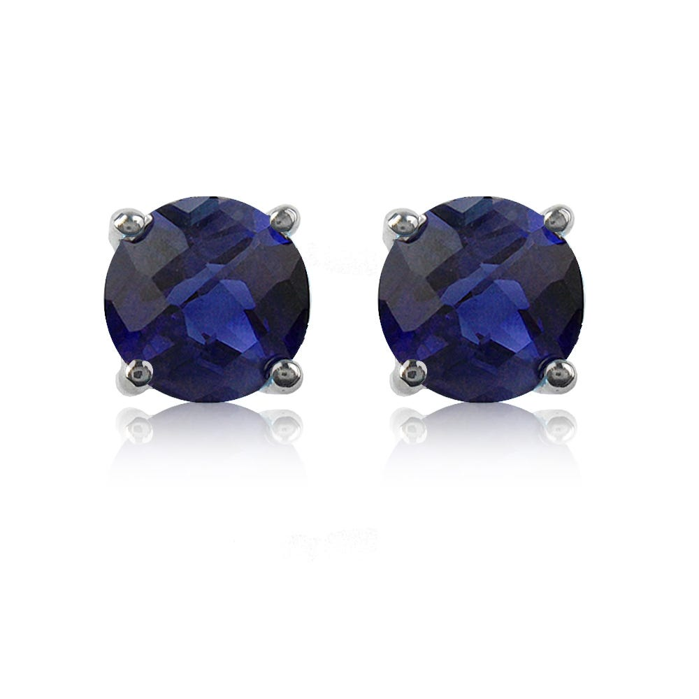 Sapphire Brilliant-Cut Stud Earrings in White Gold