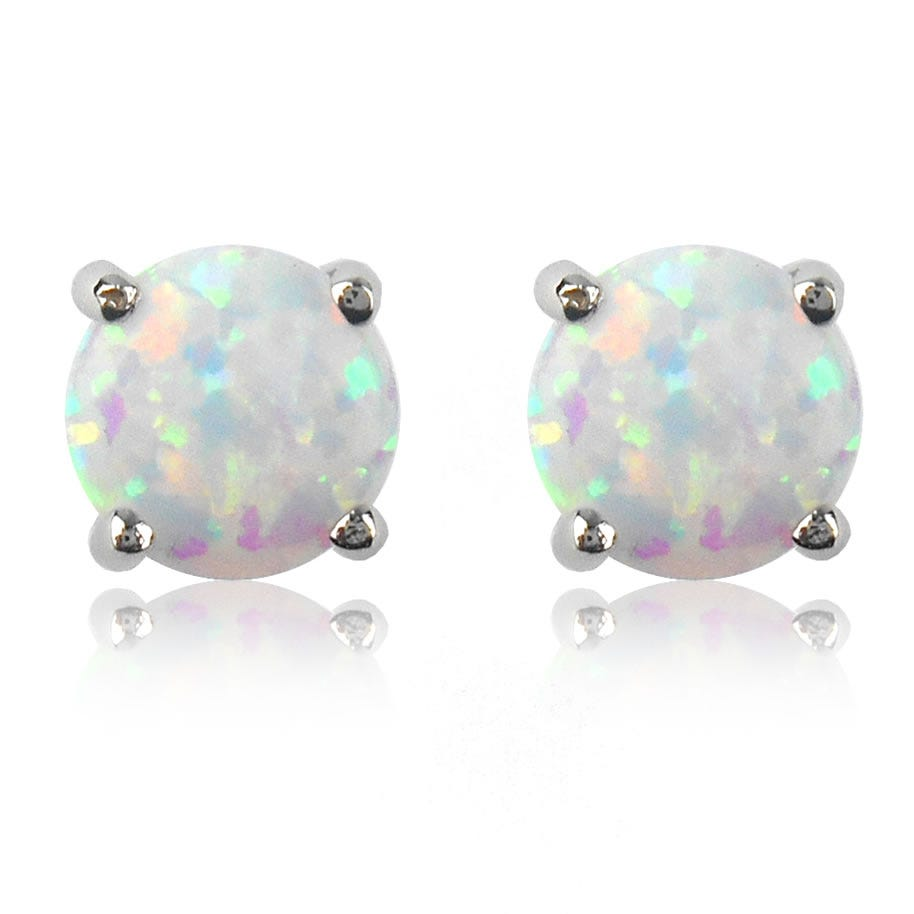 Created Opal Stud Earrings in 10k White Gold