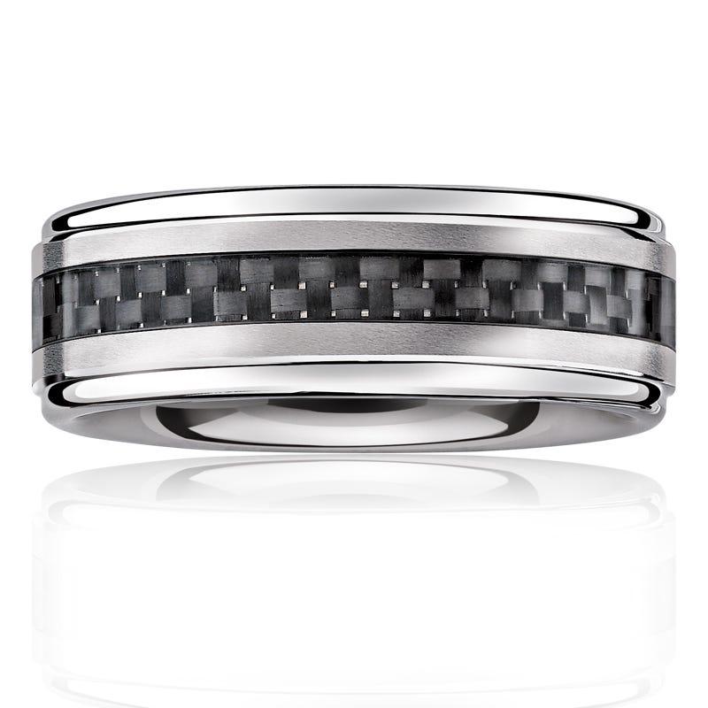 Triton Men's Tungsten Black Fiber Inlay 8mm Wedding Band