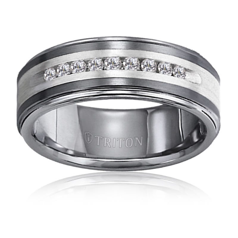 Triton Men's 1/4ctw. Diamond Tungsten Carbide Band