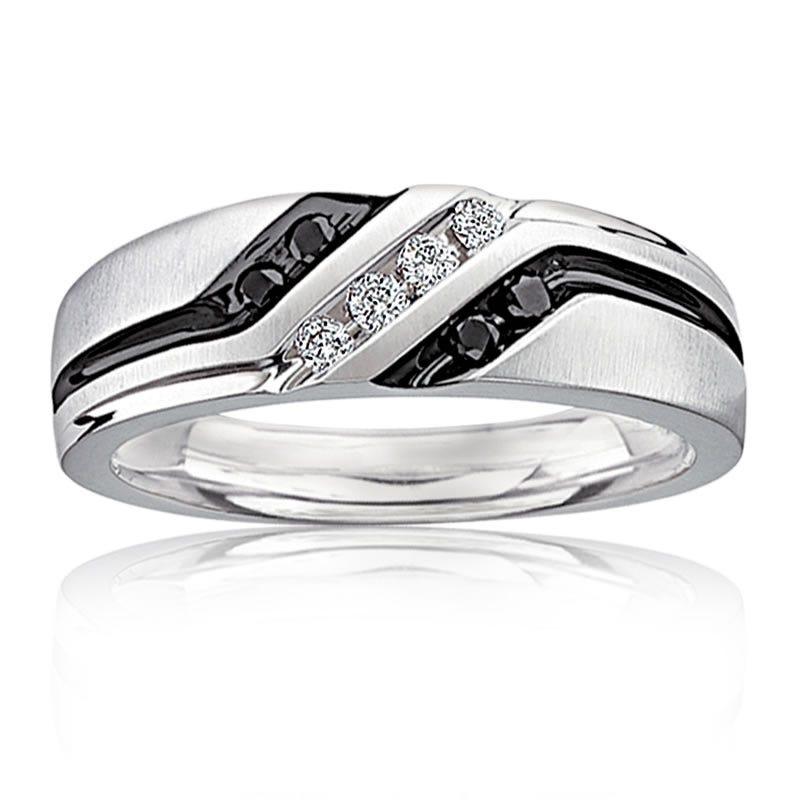 Men's Diamond Black & White Diamond Wedding Band
