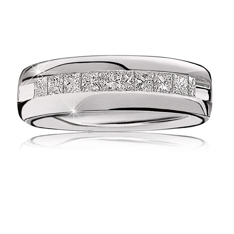 Men's Diamond Channel-Set 1 ctw. Wedding Band in 14k White Gold