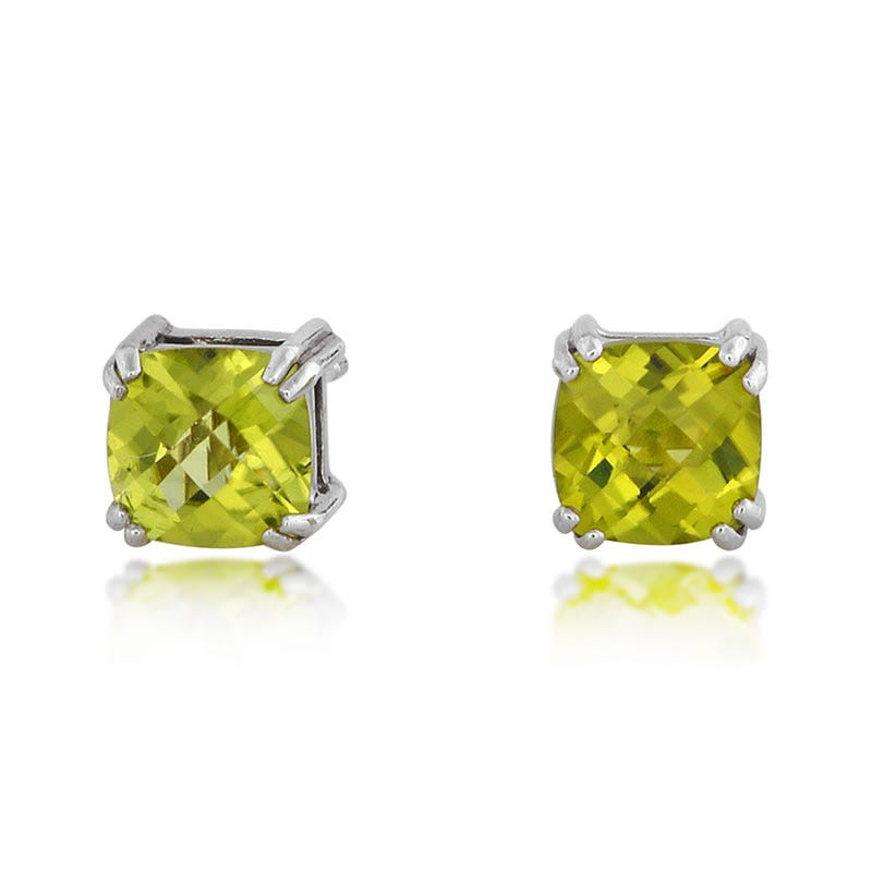 Peridot Cushion-Cut Stud Earrings in Sterling Silver