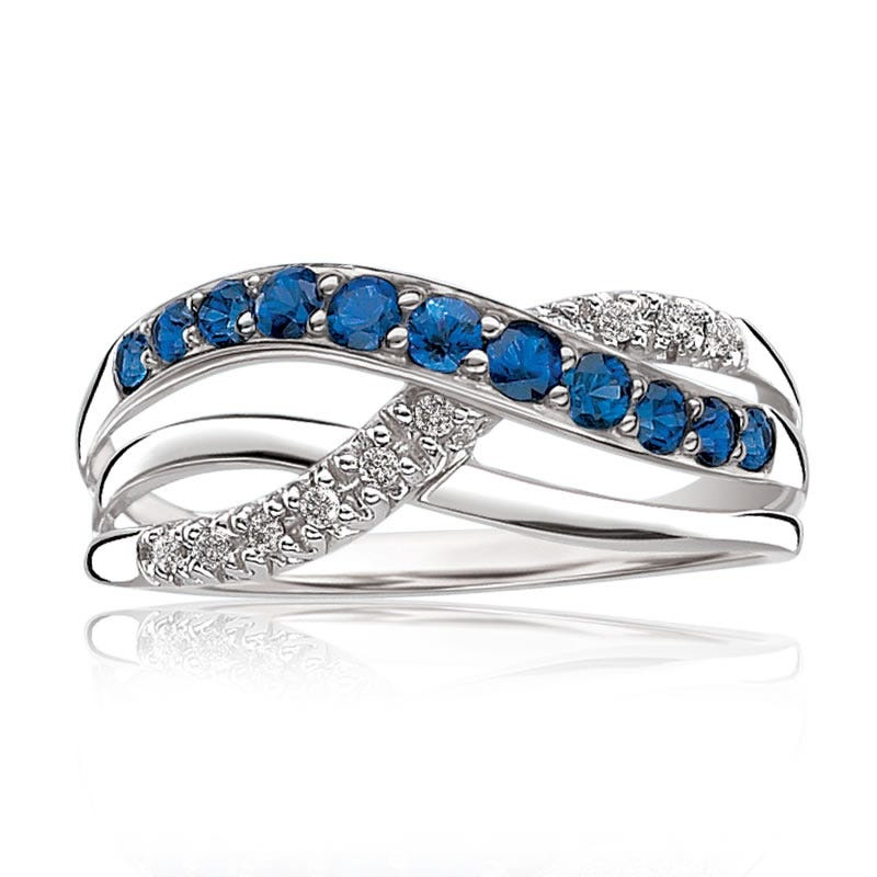 Sapphire & Diamond Crossover Ring in 10k White Gold