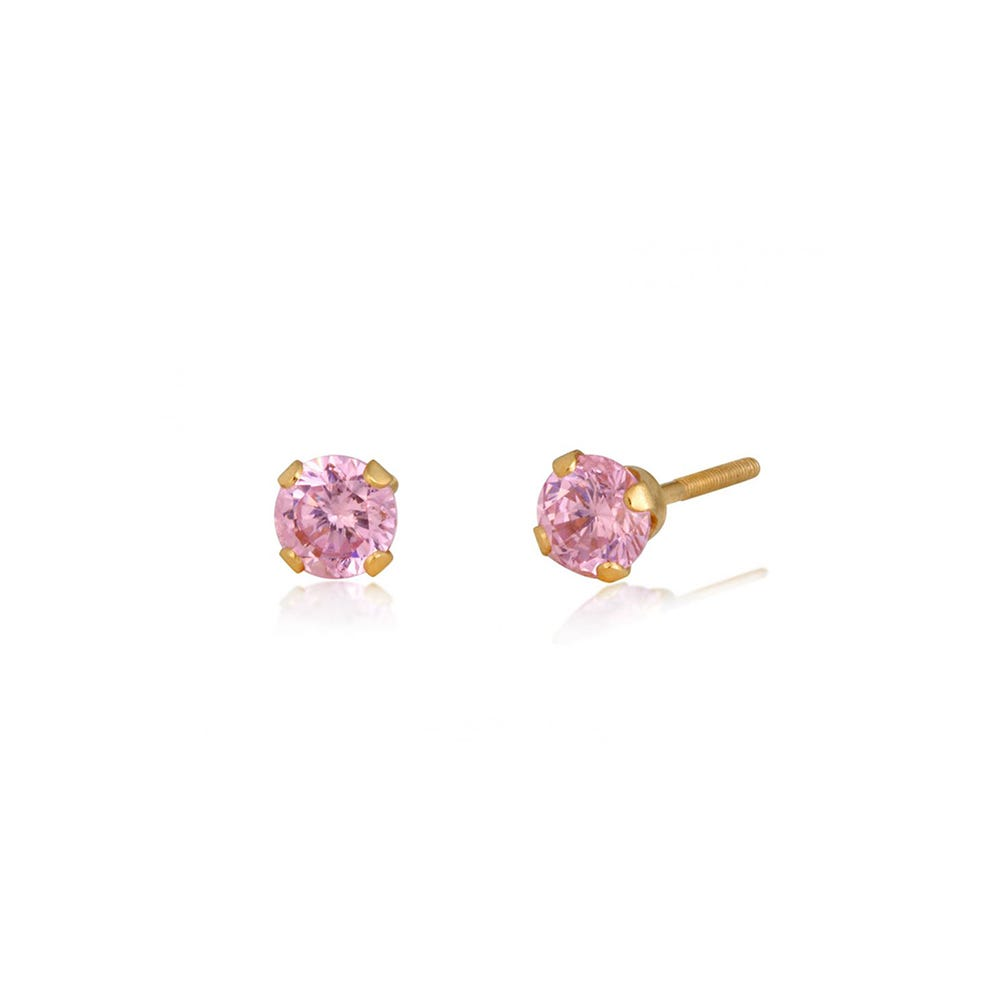 Pink Cubic Zirconia Infant Stud Earrings in 14k Yellow Gold