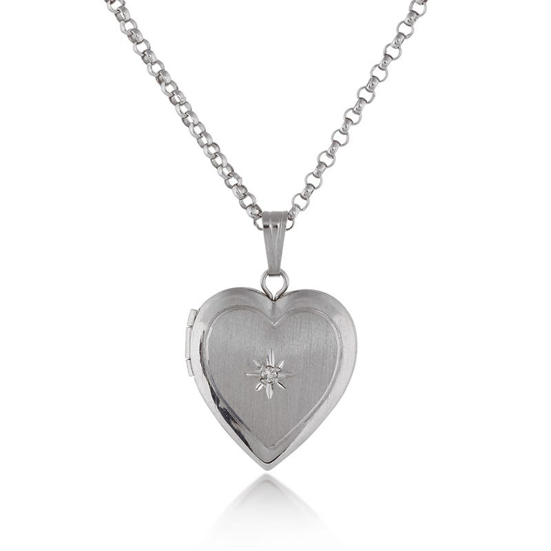 Diamond Heart Locket in Sterling Silver with 18