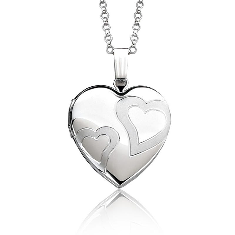 Heart On Heart Locket in Sterling Silver