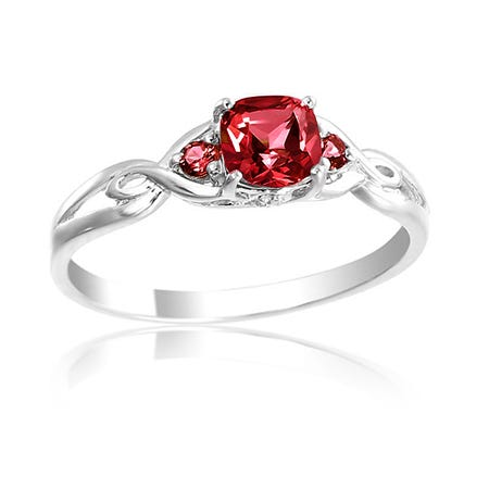Created Ruby & Diamond Birthstone Ring Sterling Silver