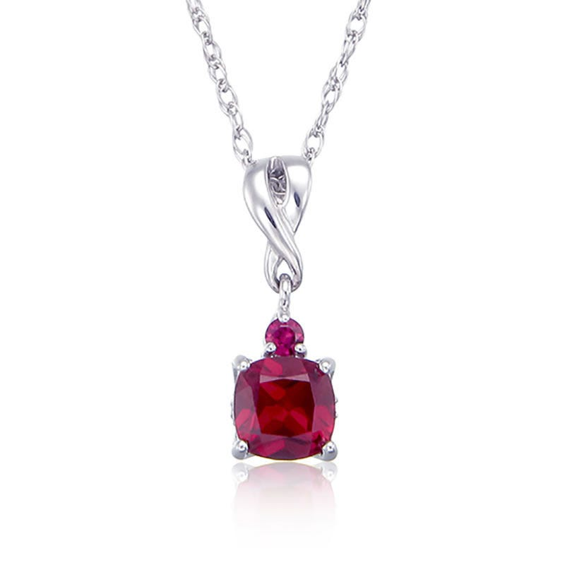 Created Ruby & Diamond Birthstone Pendant