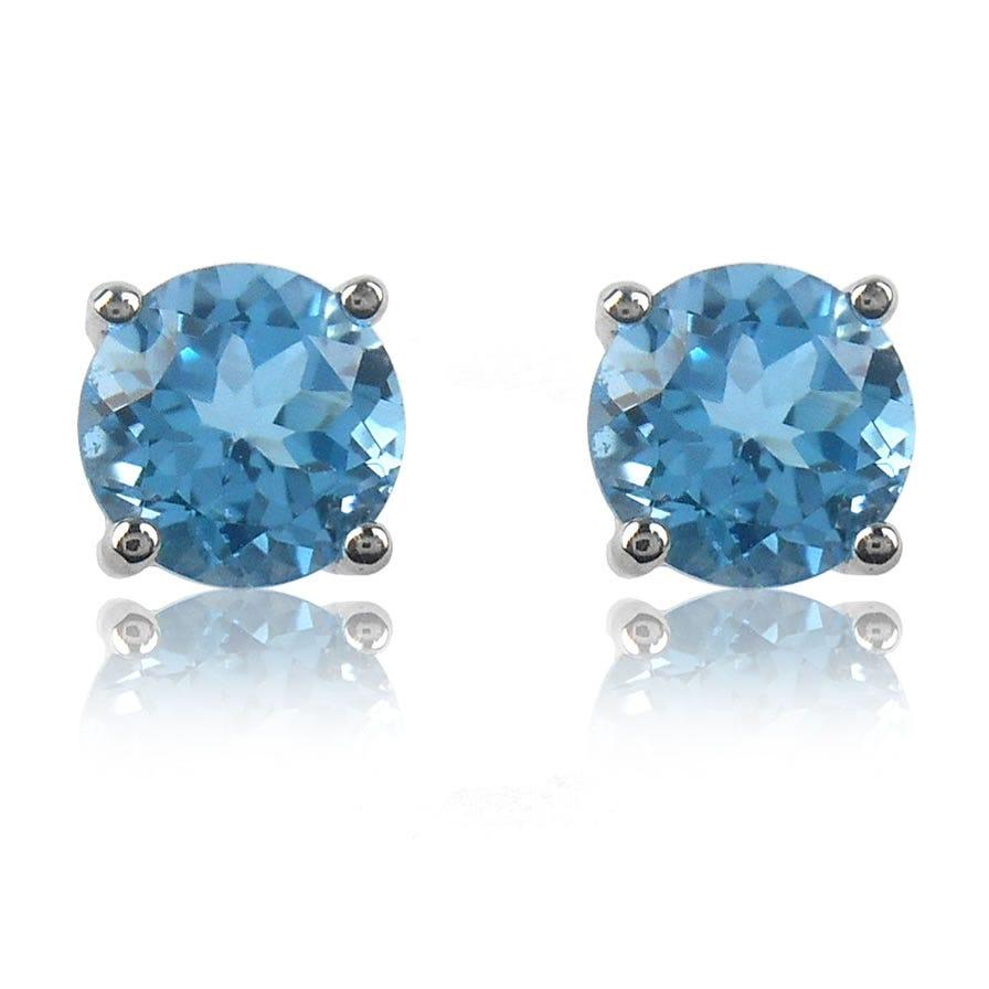 Aquamarine Brilliant-Cut Stud Earrings in White Gold