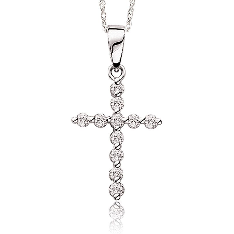 Diamond White Round Cross Pendant 1/10ctw. Pendant in White Gold