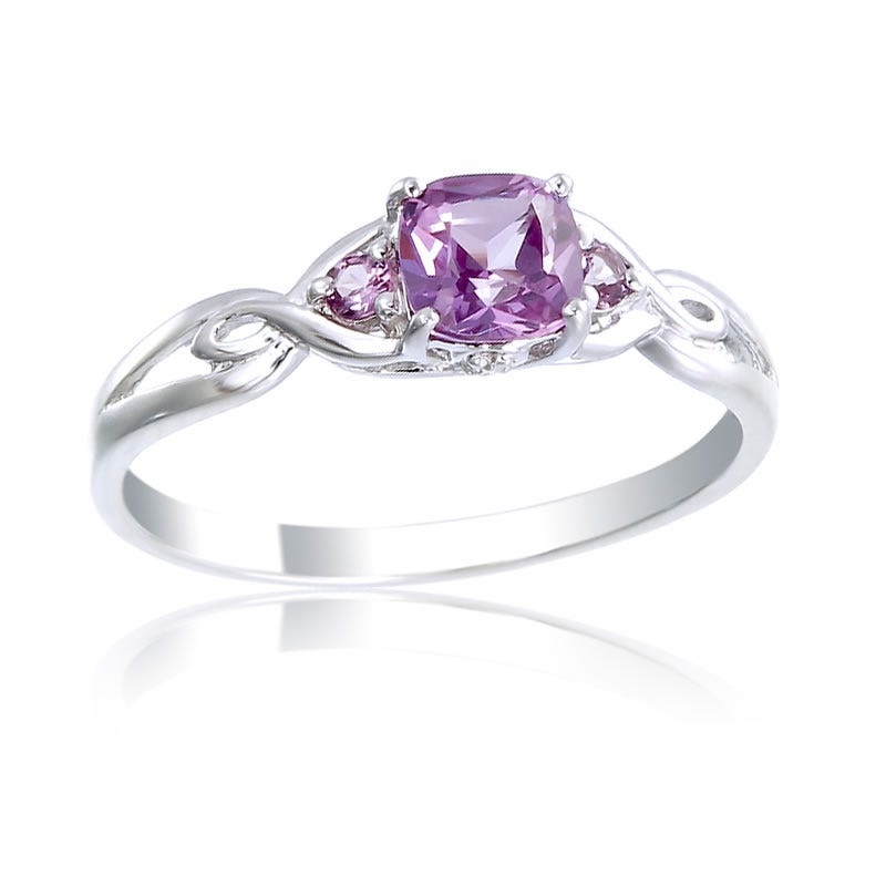 Created Alexandrite 5mm Cushion Cut & Diamond Ring