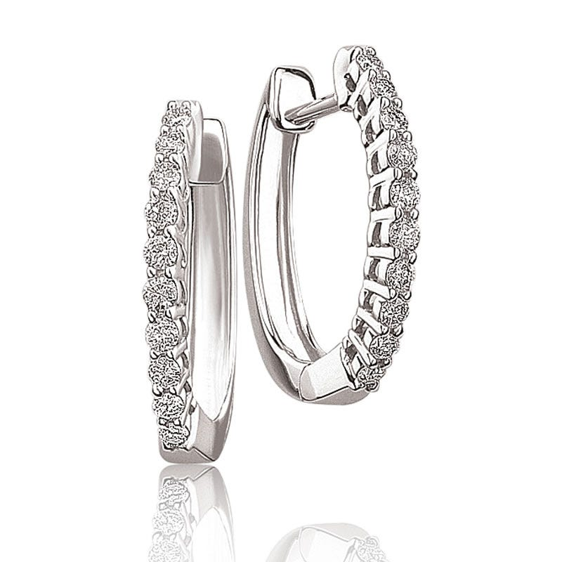 Brilliant-Cut Diamond Hoop Earrings ¼ctw. in White Gold