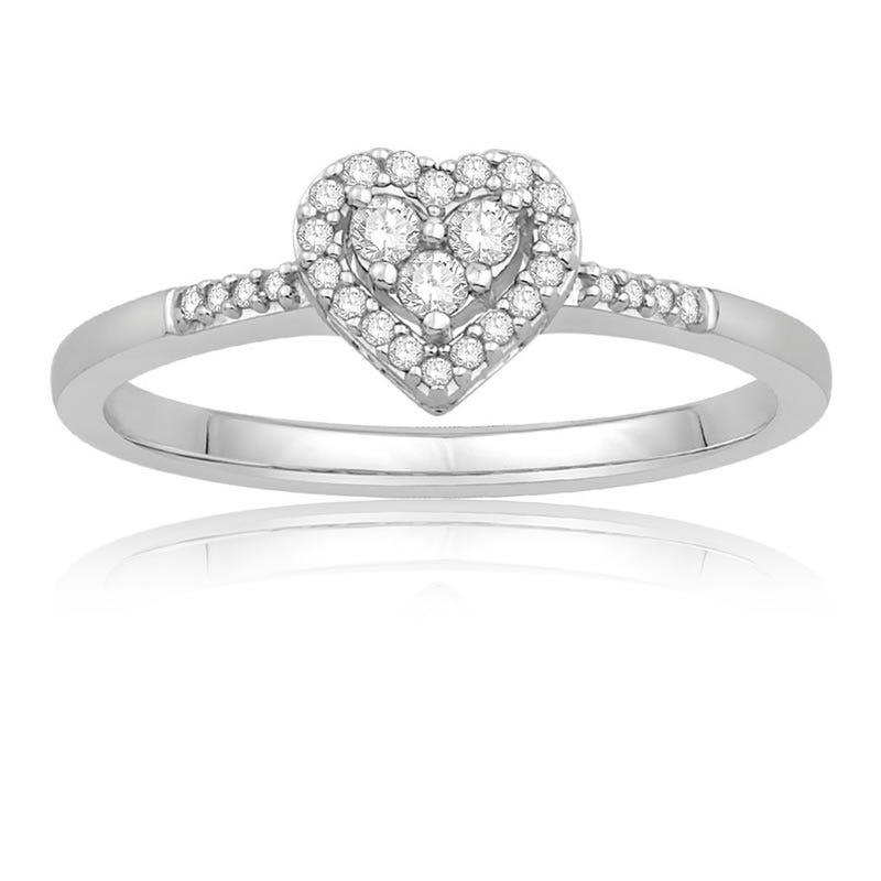 Diamond Heart Frame Promise Ring
