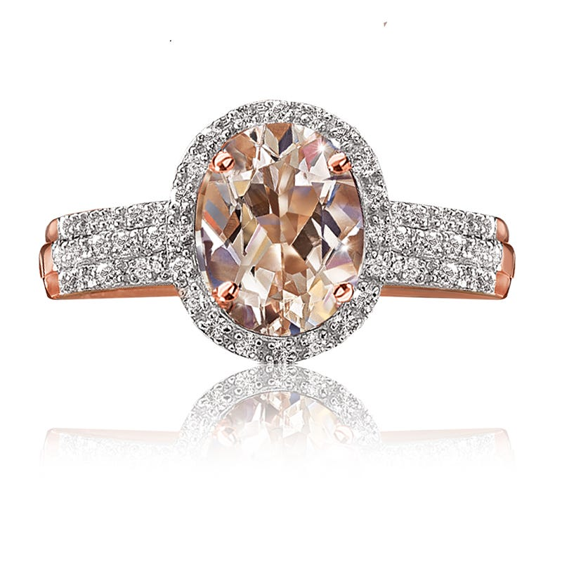 JK Crown® Morganite & Diamond Halo Ring in 10k Rose Gold