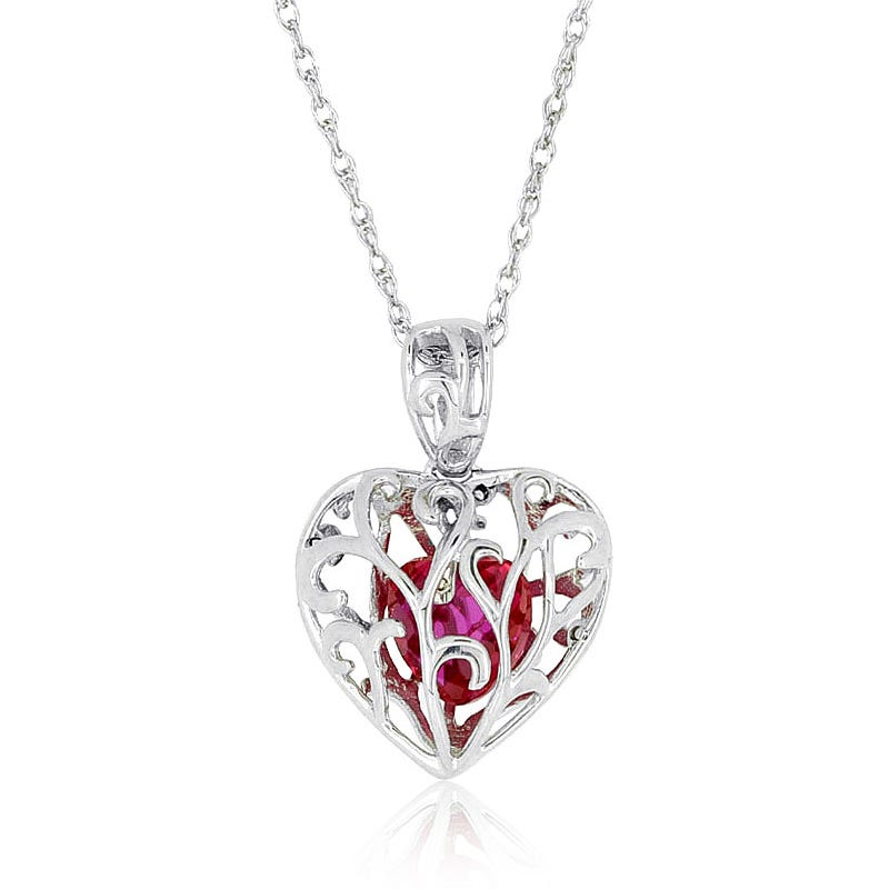 Created Ruby Enclosed Gemstone Pendant in Sterling Silver