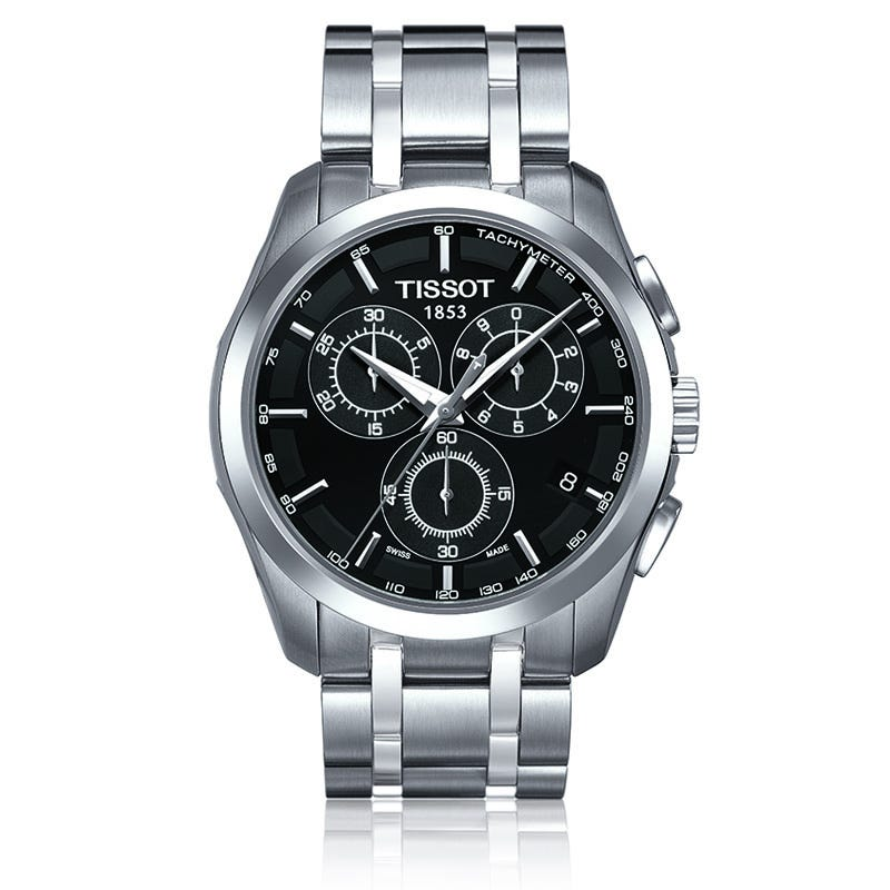 Tissot Couturier Men's Black Chronograph Stainless Steel Watch T0356171105100