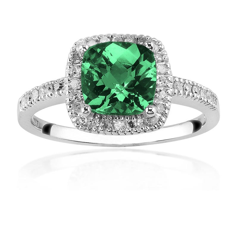 Created Emerald Ring with Diamond Halo in 10K White Gold