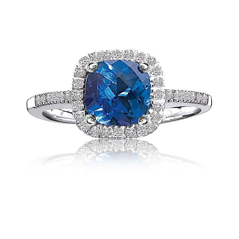 Sapphire Created & Diamond Halo in 10k White Gold