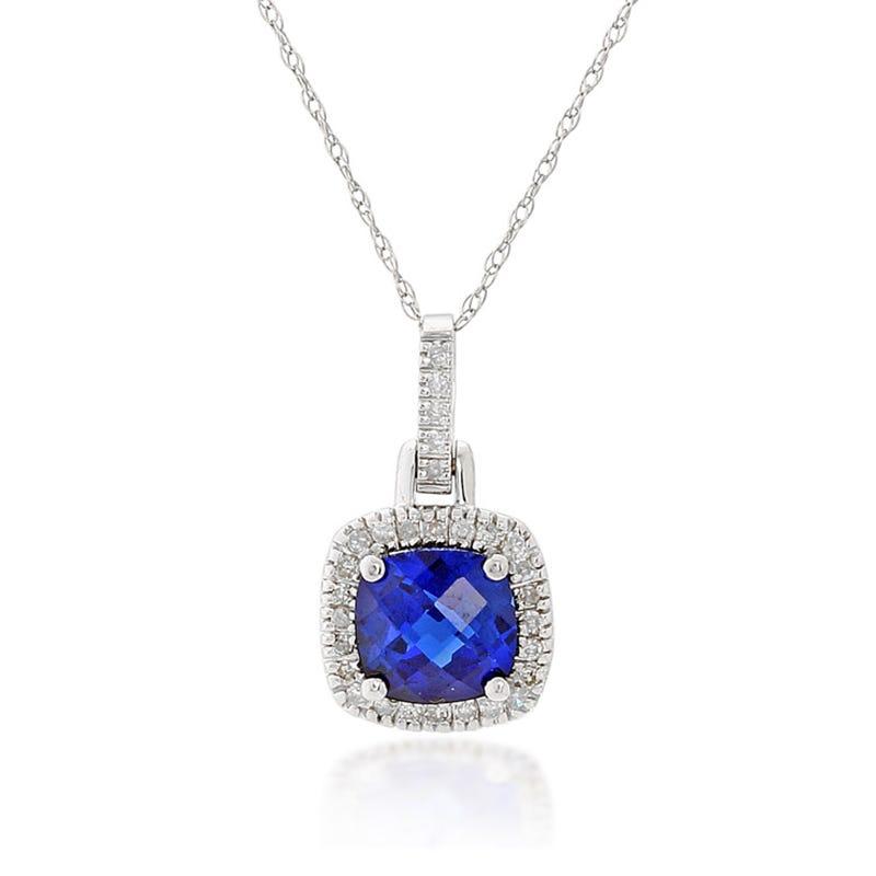 Blue Created Sapphire & Diamond Halo Pendant in 10k White Gold
