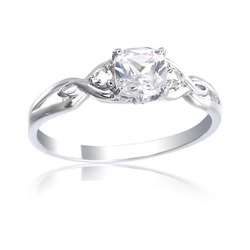 Created White Sapphire & Diamond Ring