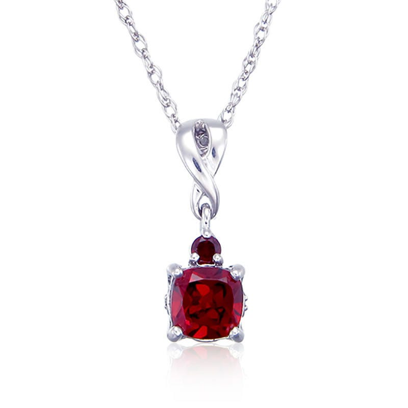 Red Garnet & Diamond Birthstone Pendant