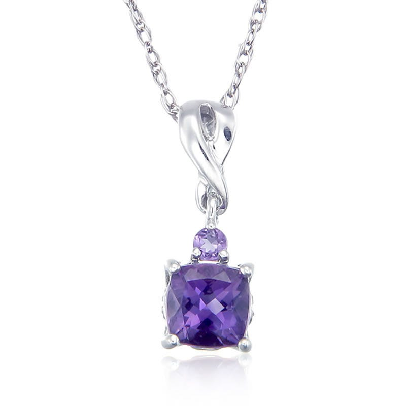 Purple Amethyst & Diamond Pendant