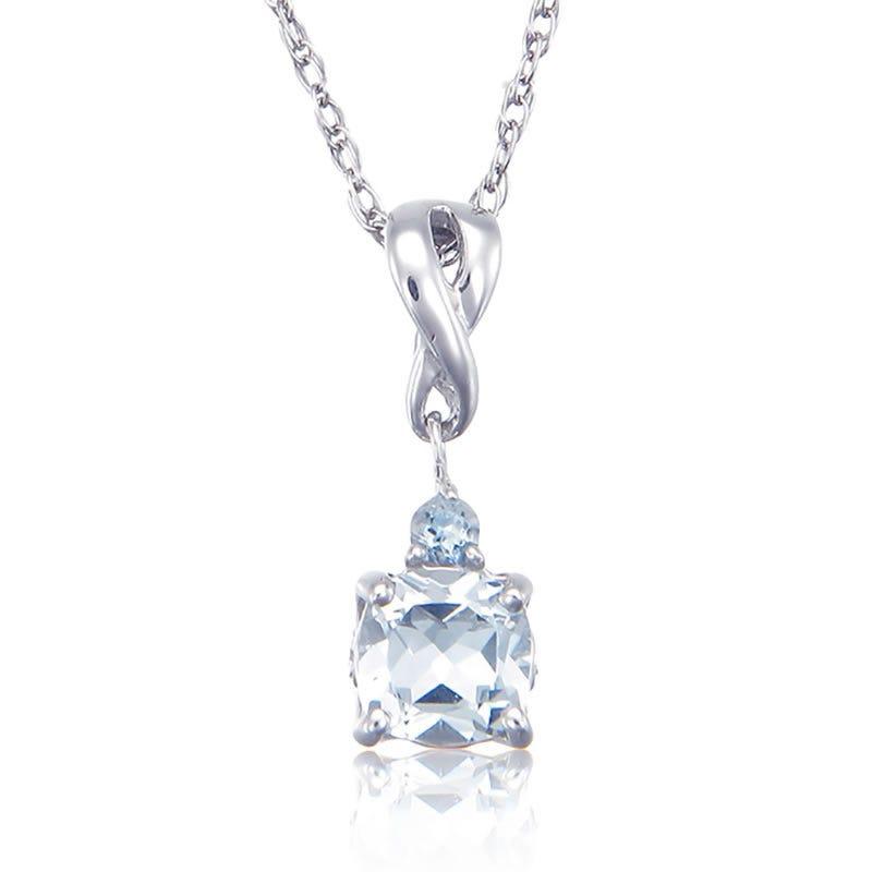 Aquamarine & Diamond Pendant 18