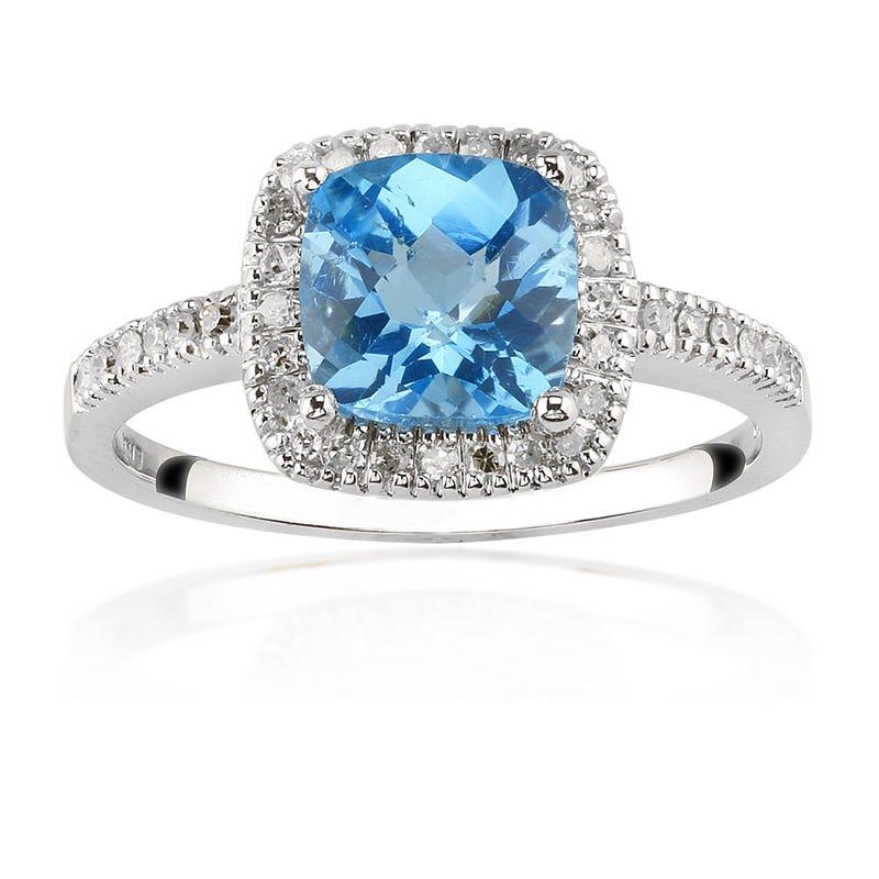 Blue Topaz 7mm & Diamond Ring in 10K White Gold