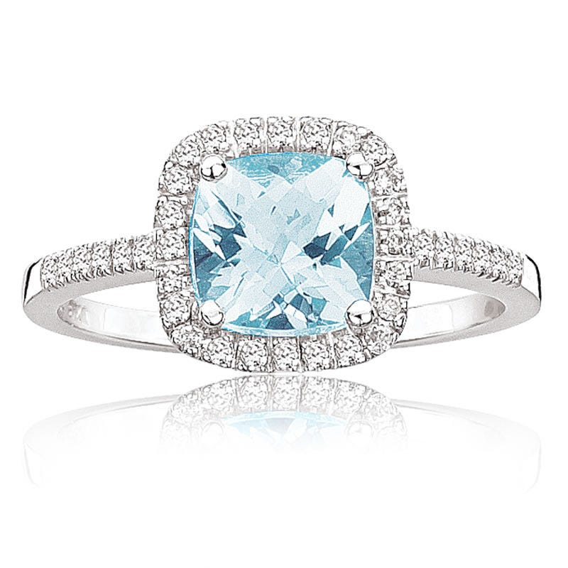 Aquamarine & Diamond Halo Ring in 10k White Gold