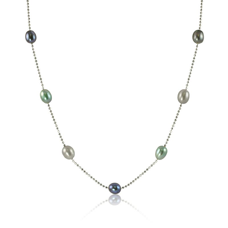 Oval Grey, Blue & Teal Freshwater Pearl Necklace with Sterling Silver Chain