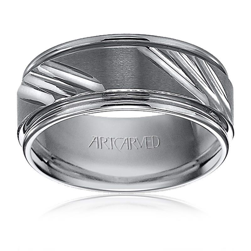 ArtCarved Men's Tungsten Triple Diamond-Cut Wedding Band