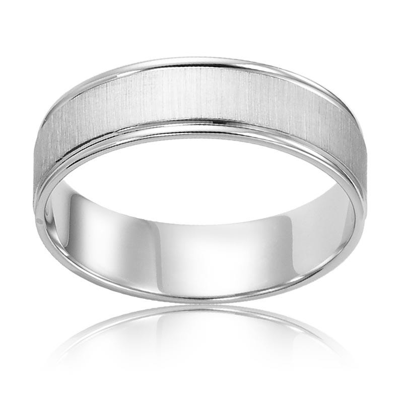 Men's 10k White Gold Polished-Edge Wedding Band
