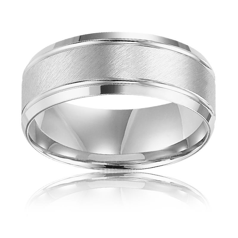 Men's 8mm Satin Finish Wedding Band in White Gold