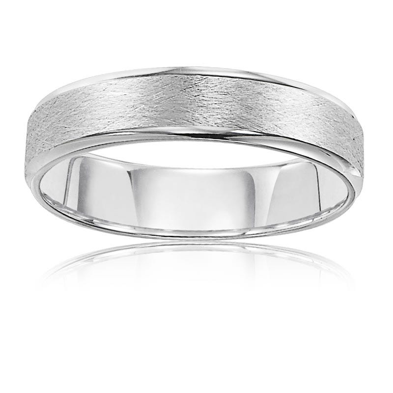 Men's White Gold Brushed 5mm Wedding Band