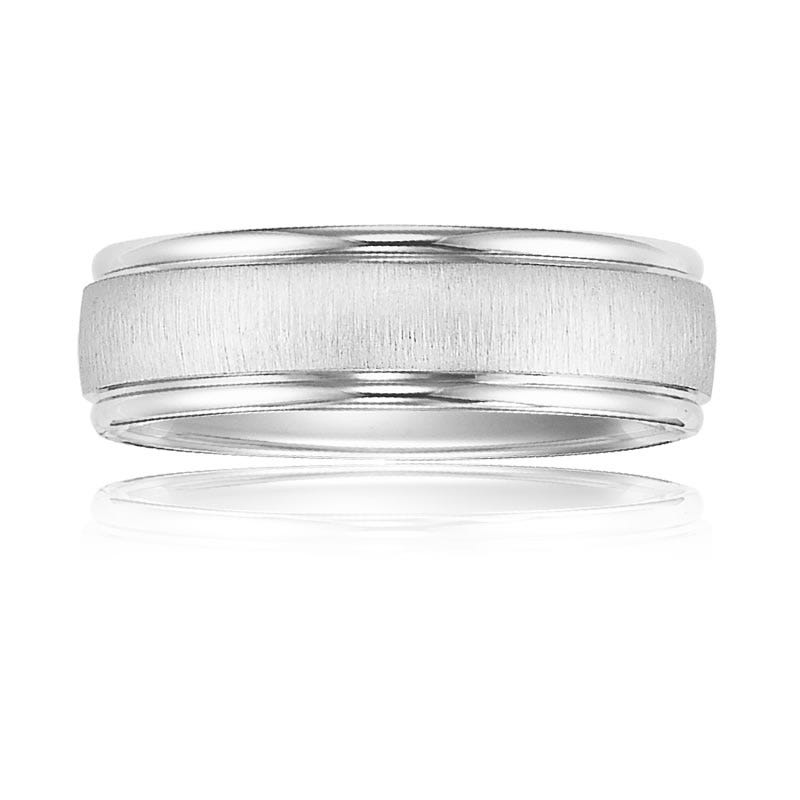 Men's 6.5mm Polished Edge Wedding Band in 10k White Gold