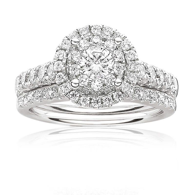 Serie 1ctw. Brilliant-Cut Pavé Diamond Halo Engagement Ring