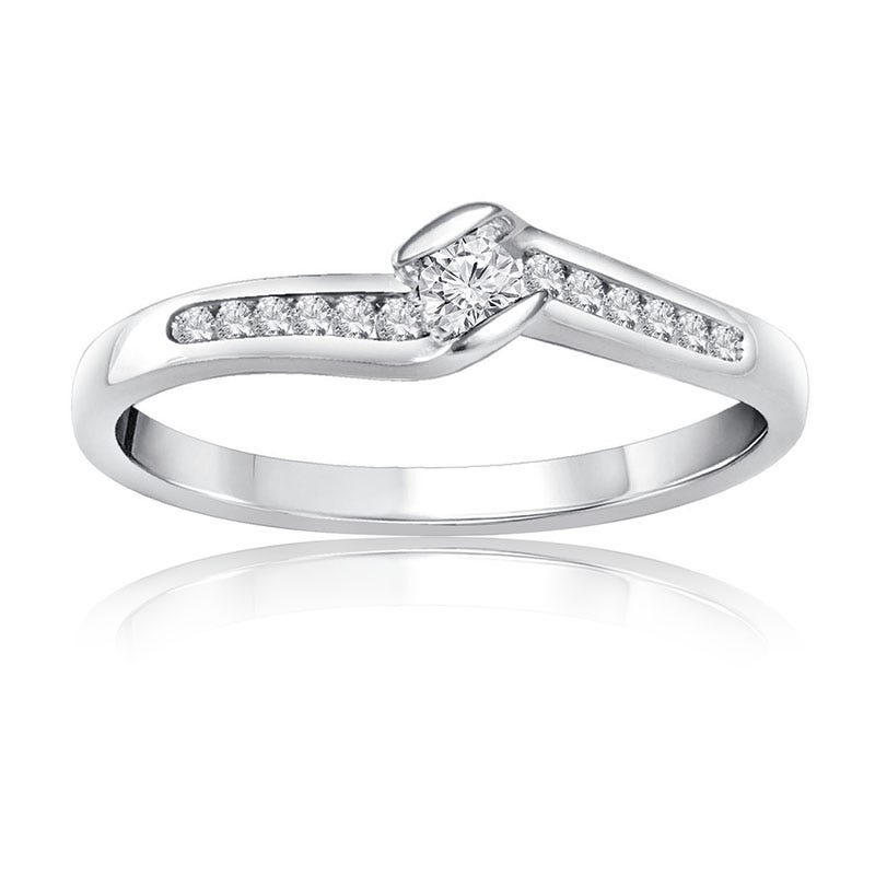 Round Brilliant Diamond Promise Ring in 10k White Gold