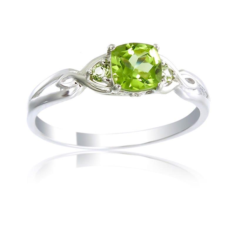 Green Peridot & Diamond Birthstone Ring