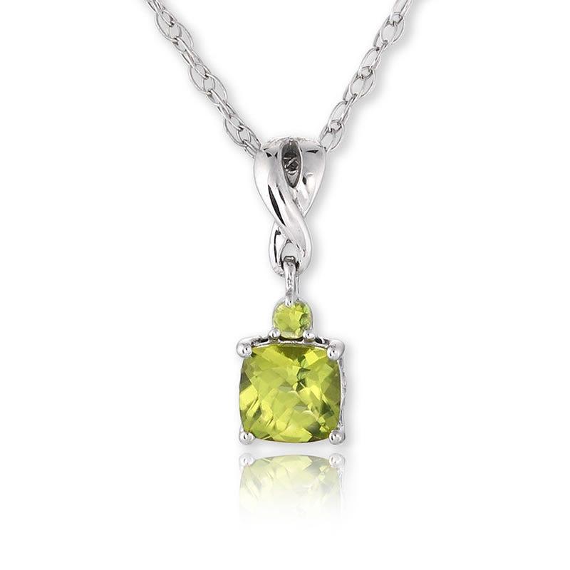 Peridot & Diamond Pendant Sterling Silver