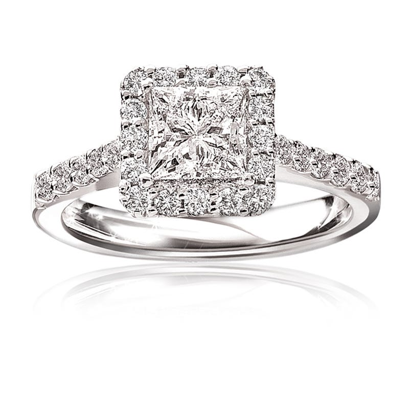 Stephanie. Princess-Cut Pavé Diamond Halo Engagement Ring 14k White Gold