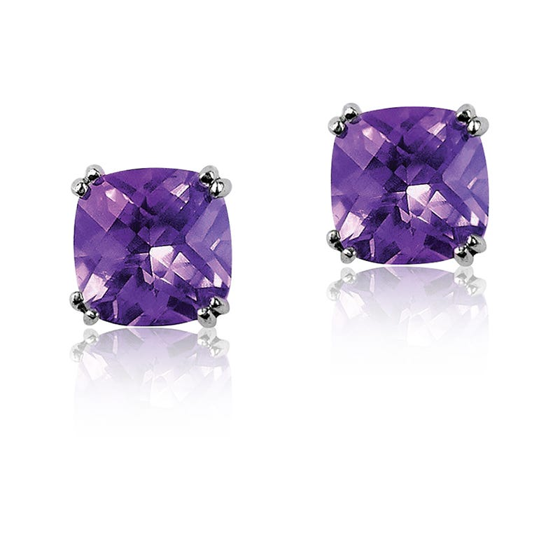 Amethyst Cushion-Cut Stud Earrings in Sterling Silver