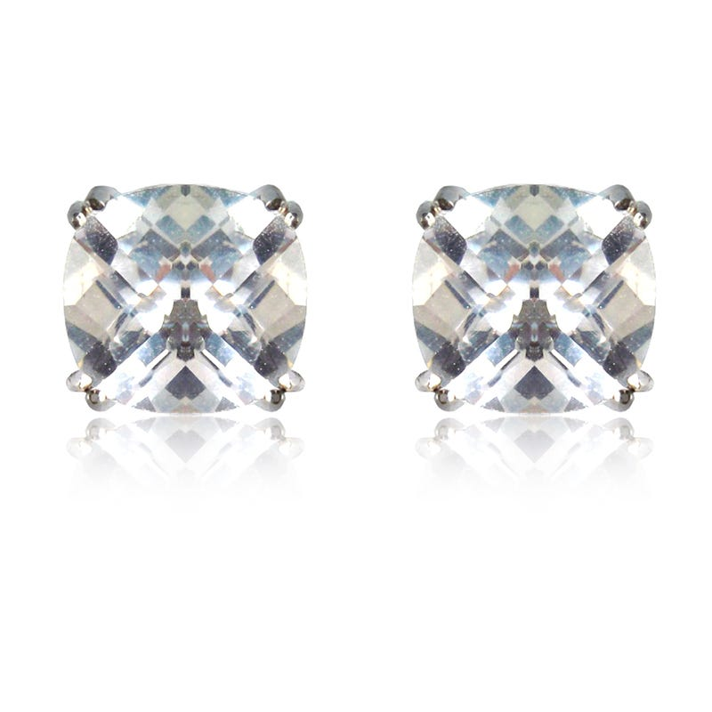 Created White Sapphire Cushion-Cut Stud Earrings in Sterling Silver