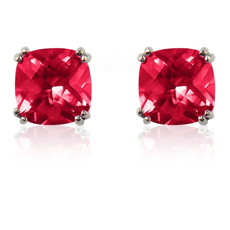 Created Ruby Cushion-Cut Stud Earrings in Sterling Silver