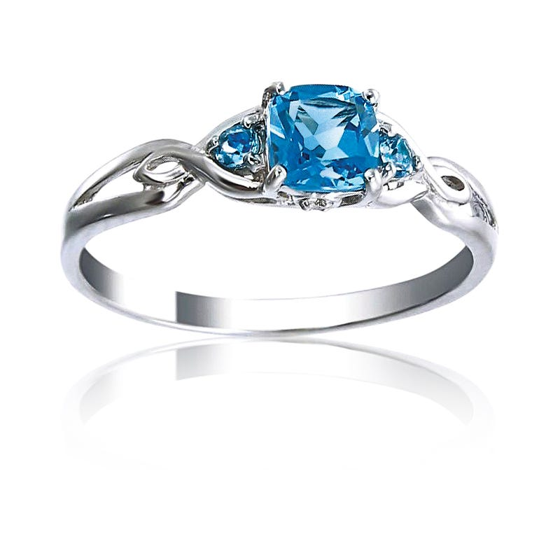 Blue Topaz & Diamond Accents Ring in Sterling Silver
