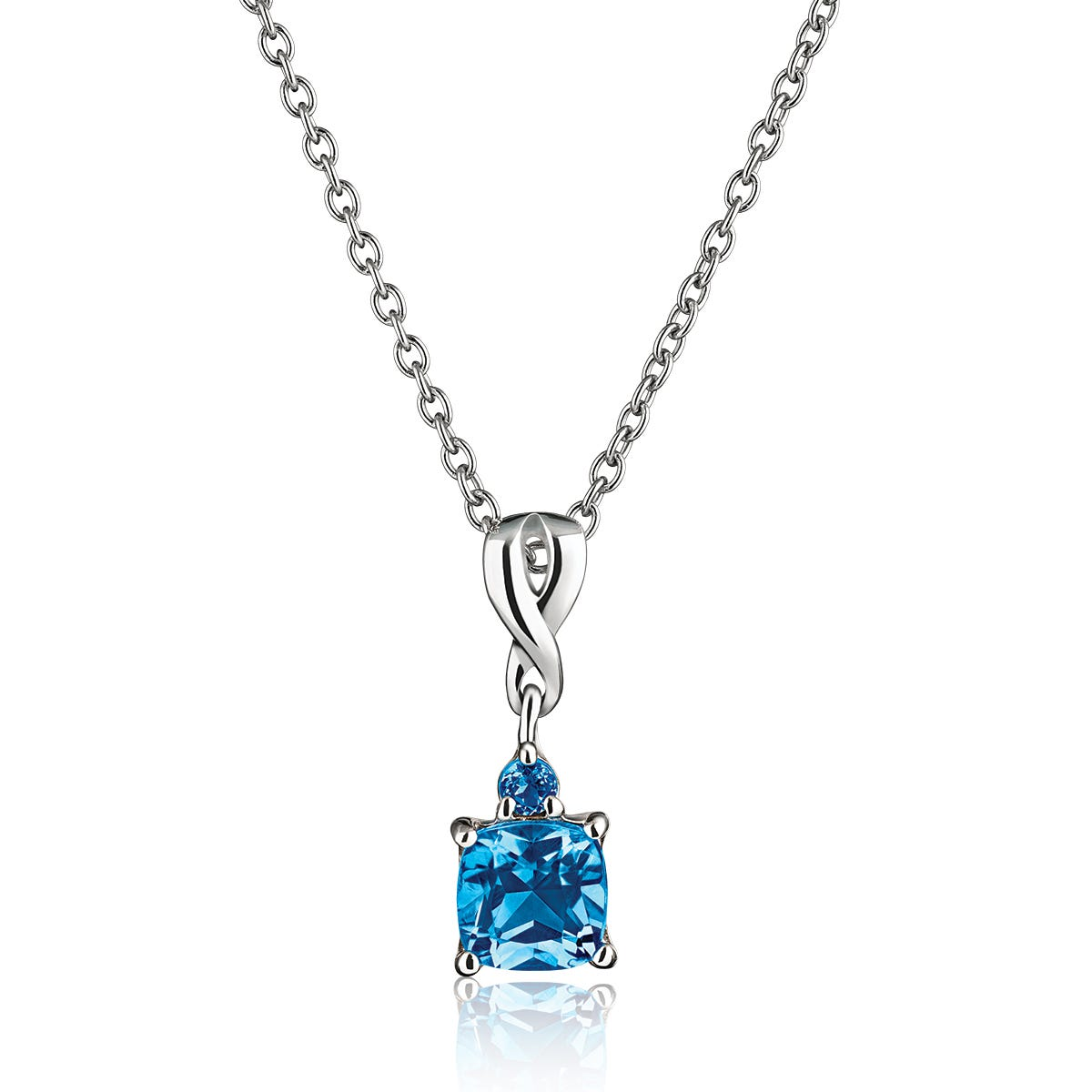 Blue Topaz & Diamond Accents Pendant in Sterling Silver