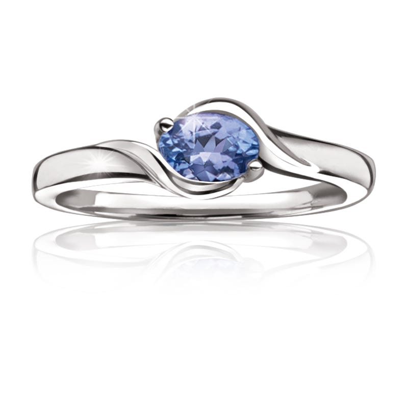 Genuine Oval Tanzanite Ring in Sterling Silver