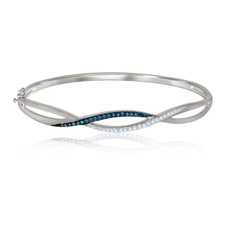 Blue & White Diamond ¼ct. Bangle Bracelet